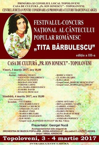 """Afis Festivalul """"Tita Bărbulescu"""""""