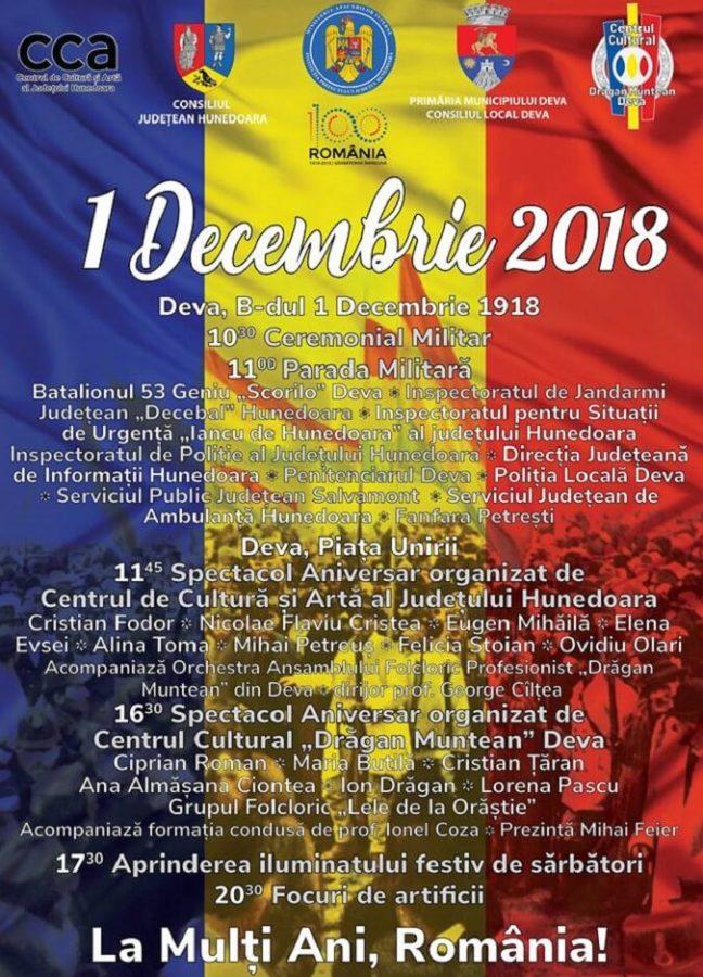 Programul Zilei Nationale a Romaniei - Deva 2018