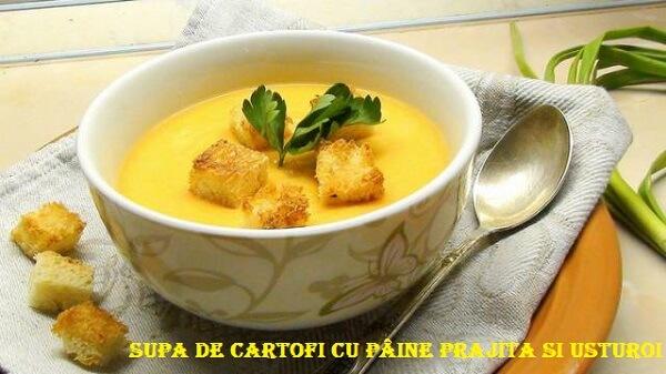 Supa de cartofi cu paine prajita si usturoi