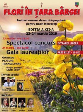 Afisul Festivalul de Muzica Populara Flori in Tara Barsei