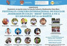 "Festivalul International de Folclor ""Rozmarin in coltu' mesii 2020"